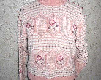 Vintage 1980s Pastel Pink Floral Pullover Sweater Ninon De Lenchos Cotton Blend Long Sleeves Retro Hipster Womens Size Large