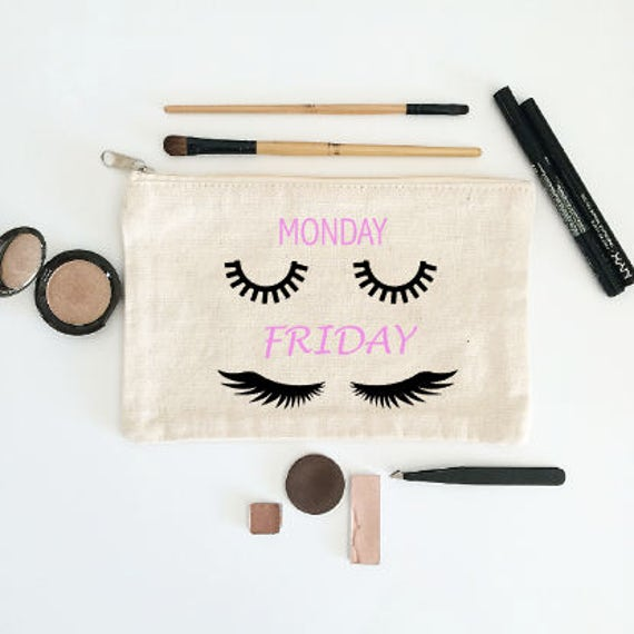 Canvas Cosmetic Bag: Monday vs. Friday Mascara Lashes - Makeup Bag