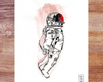 Cosmonaut - professional print of an original ink & watercolours drawing; astronaut; space; spacesuit; Mars