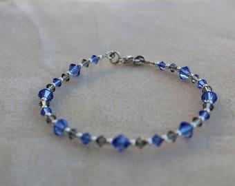 Sapphires and Smoke Swarovski Bracelet