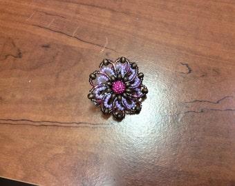 Flower barrette in purple & brown