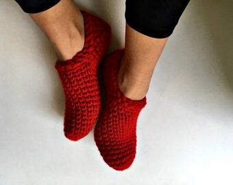 RED Crochet Slipper Socks, Womens Slippers, Crochet Slippers, Ankle Booties, Crochet Booties, Chunky Socks, Simple Slippers, Gift for Women