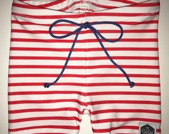 GET BY THE 4th || Red Stripes - Baby Swimming Trunks, Toddler Swimming Trunks, Swim Shorts