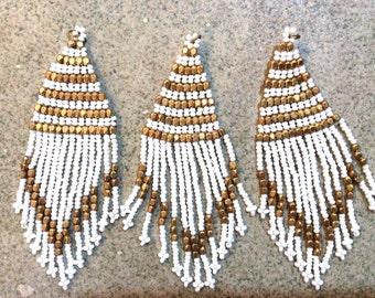 1 pc seed bead flat tassel boho fringe white gold handmade India jewelry making supplies earrings
