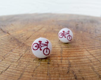 Bicycle Button Earrings