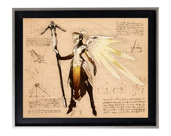 Overwatch Mercy Sketch Da Vinci Blueprint gallery matte print poster