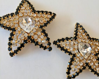 Vintage Escada Star Clip on Earrings//Diamante//Gold//Gifts for her//Jewellery//Jewelry //Vintage Couture,Luxurious,Designer // ES005