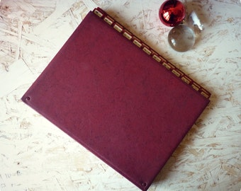 Workbook sorter door documents bellows - Burgundy Red storage pouch - Vintage-