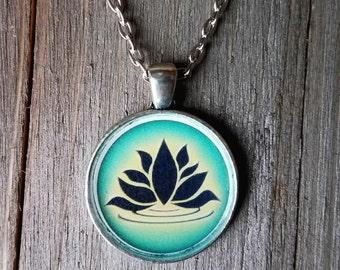 Lotus Pendant Necklace | Black Lotus Flower | Yoga metaphysical Buddha necklace jewelry | Spiritual Jewelry Lotus Flower Pendant