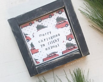 MADE TO ORDER- christmas vacation sign - framed sign - christmas sign- national lampoon- mixed media