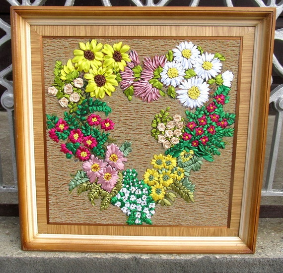 Ribbon embroidery tapestry floral wreath flowers