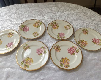"Antique English Roslyn Fine Bone China set of 6  ""rose"" Salad or Dessert Plates ,  8"" the diameter.  Made in England. Home decor Gift idea"