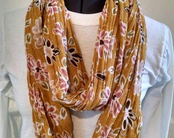 Sheer cotton floral Infinity scarf
