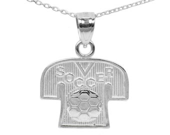 10k White Gold Soccer Necklace