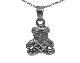 14k Black Gold Teddy Bear Necklace
