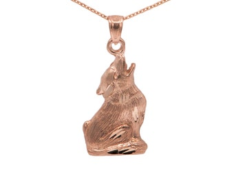 14k Rose Gold Wolf Necklace