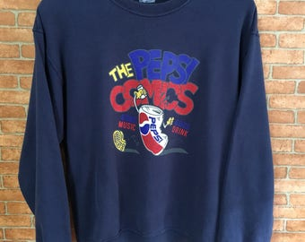 Vintage Pepsi Comics Big Logo Embroidery Sweatshirt Pullover Jumper Blue L