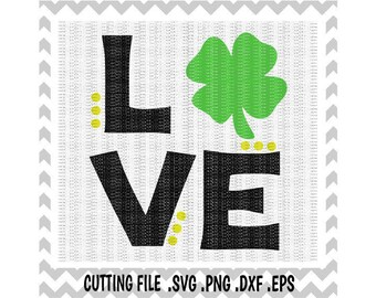 St. Patricks Day Love Clover SVG- Dxf- Png- Eps, Cutting Files For Silhouette Cameo/ Cricut, Svg Download.