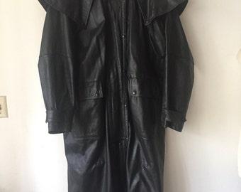 Old black leather long men jacket size XXXL .