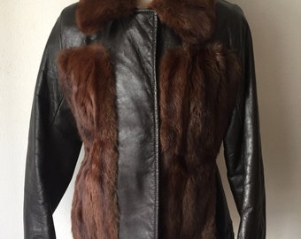 Fur & leather winter jacket , women size small .