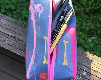Pink bone pencil pouch
