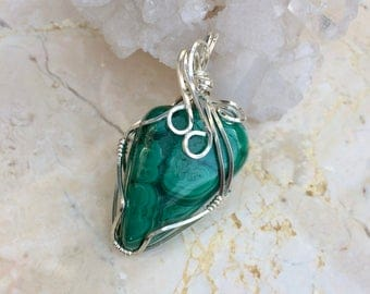Malachite Wire Wrapped Pendant, Reiki Charged, Malachite Crystal Necklace Sterling Silver, Love Pendant, Heart Healing