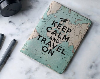 Keep Calm And Travel On - Personalized Passport Cover/Holder - Travel Passport Cover - High Quality Handmade Leather | TTG-PPC-002