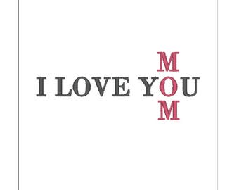 I love you mom crossword Mothers day embroidery pattern 4 inch download for Machine Embroidery