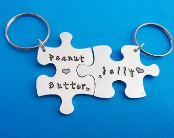 Peanut butter jelly keychain, peanut butter, best friend charms, peanut butter jam, best friend keychains, couples keychain, bff keychain