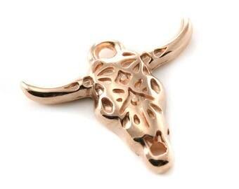 1 , 5 10 ou 20 Pendentif - breloque Tête de Buffle / taureau métal rose gold (or rose) 25x22 mm  ou 39x32 mm - Ref: 1387 / 1388