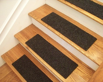 """Essential Carpet Stair Treads - Style Berber - Color Charcoal Black - Size 24"""" x 8"""" - Sets of 4, 7, 13, or 15"""