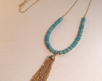 Blue Bead Tassle Necklace