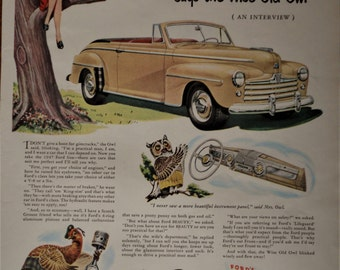 """1948 Ford car ad.  1948 Ford Convertible.  """"Ford's out Front.""""  Vintage 1948 Ford ad.  Life Magazine.  Sept 8, 1947."""