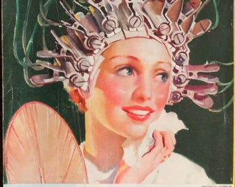 1935 Coca Cola ad.  Coca Cola ad. 1935 Coca Cola at the Beauty Shop. Retro Coca Cola ad. Features a Permanent Wave Machine.