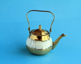 Vintage Miniature Brass Kettle with Mother of Pearl Decoration