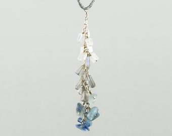 Blue kyanite, labradorite and moonstone pendant necklace