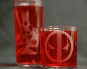 Deadpool drinking glass set 2pc