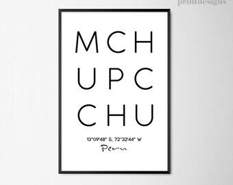 Machu Picchu City Printable Poster,City Print, Peru Wall Art, Minimalist Wall Art, Modern Home Decor, Minimalist Print, Scandinavian Print