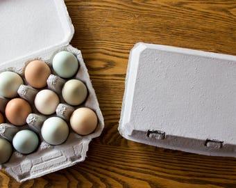 10 Vintage Style Full Dozen Egg Cartons - Blank Top - 4x3 Egg Cartons Hold 12 Eggs