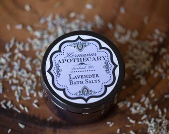 Lavender Bath Salts 4oz - Hermanas Apothecary - All Natural and Organic - Relaxing and Calming Lavender Foot Soak, Body Soak