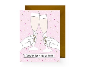 Cheers to a New Year! Holiday Card (Single Card or Set of 6)