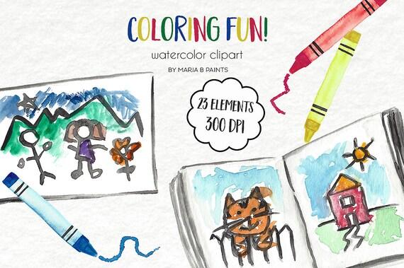 Watercolor Clip Art Coloring Book Children Kids Artwork