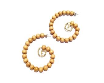 Wooden bead swirl hoop earrings