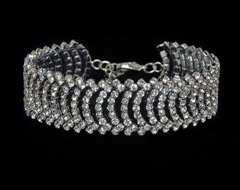 Luna Clear Crystal Competition Bracelet for IFBB, NPC, and NANBF Bikini Fitness Bodybuilding Contests