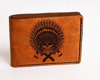 Skull Wallet, Indian Wallet, Mens Leather Wallet, Skull Leather Wallet, wallet indian skull, Skull Wallet, Skull indian wallet,indian wallet