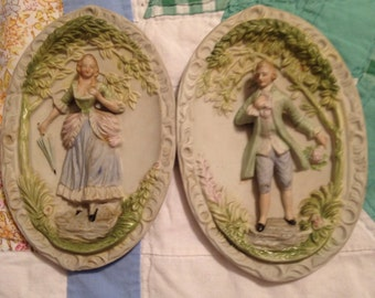 Chase bisque porcelain wall plaques