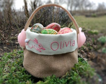 Burlap Easter basket, Easter Basket Personalized, Easter egg basket.