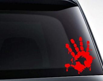 Bloody hand print die cut vinyl decal sticker for car windows, laptops, yeti decals, etc.