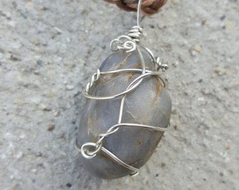 Grey Wire Wrapped Jewelry River Stone/ Rock Brown/ Cream Braided Hemp Pendant  Necklace