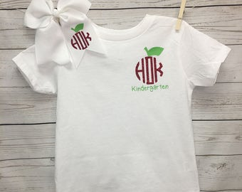 Monogrammed Kindergarten Shirt, Girls Kindergarten Shirt, kindergarten shirt, apple monogram, back to school top, girls clothing, tops,